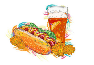 Vector Hot Dog With Colorful Splashes