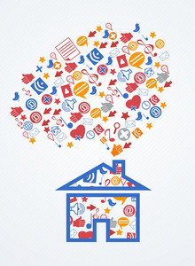 Vector House With Social Icons