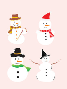 Vector Icon Set Of A Snowman
