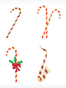 Vector Icon Set Of Santa Stick