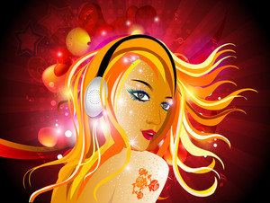 Vector Illustarion Of A Beautiful Dj Girl With Headphone On Abstract Rays Background