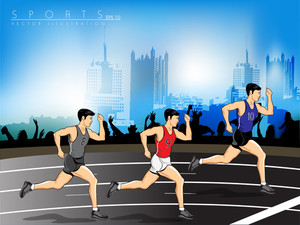 Vector Illustration Background Of Runners Sprinting In A Race Around The Track