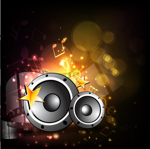 Vector illustration for musical theme with speakers on shiny background .