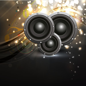 Vector illustration for musical theme with speakers on wave