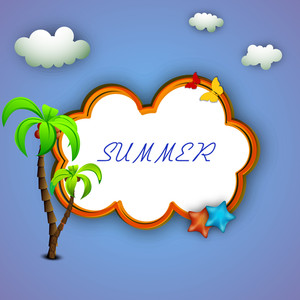 Vector Illustration For Summer Season On Blue Background