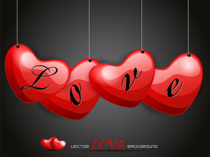 Vector Illustration Hanging Love Heart With Stylish Love Taxt.