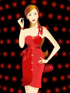 Vector Illustration Of A Beautiful Woman In Red Dress.