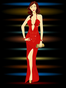Vector Illustration Of A Beautiful Woman With Golden Clutch Bag