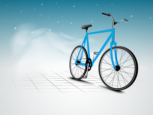 Vector Illustration Of A Bicycle On Abstract Nature Background