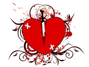 Vector Illustration Of A Broken Heart Shape.