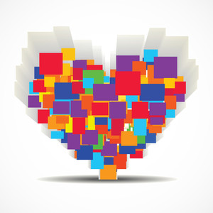 Vector Illustration Of A Colorful Heart Shape With 3d Effect On Isolated White Background.