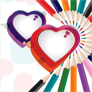 Vector Illustration Of A Colorful Heart Shapes With Pencil Colors For Valentine Day.