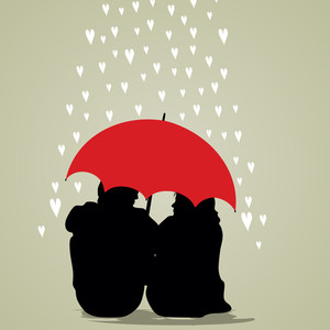 Vector Illustration Of A Couple Under Umbrella On Rainy Background.
