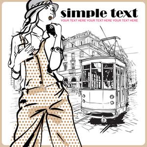 Vektor-Illustration eines Mode-Mädchen und alte Straßenbahn.