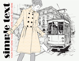 Vector Illustration Of A Fashion Girl And Old Tram.