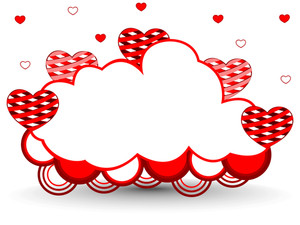 Vector Illustration Of A Frame In Cloud Shape Decorated With Hearts And Copy Space For Text.