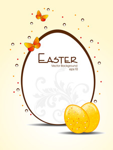 Vector Illustration Of A Frame In Shape Of Easter Egg.