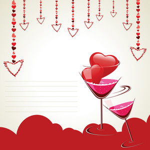 Vector Illustration Of A Greeting Card For Valentine Day And Other Occasions.