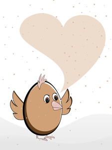 Vector Illustration Of A Greeting Card Heaving A Bird With Copy Space.