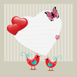 Vector Illustration Of A Greeting Card With Love Birds And Copy Space For Your Text.