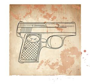 Vector Illustration Of A Gun On The Vintage Background