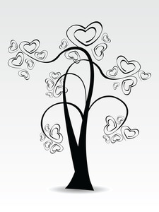 Vector Illustration Of A Love Tree On White Isolated Background.