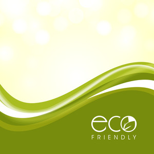 Vector Illustration Of A Nature And Wave Background With Green Leaves And Sapce For Your Text. Eco Friendly Concepts