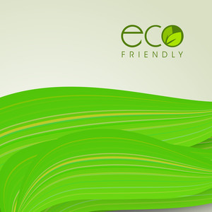 Vector Illustration Of A Nature And Wave Background  With Green Leaves And Text Eco Friendly