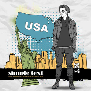 Vector Illustration Of A Stylish Guy On A Usa-background.