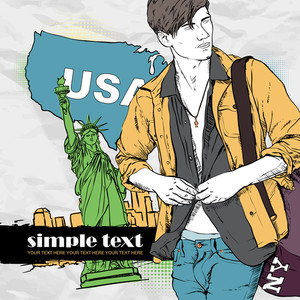 Vector Illustration Of A Stylish Guy With Bag In Sketch-style On A Usa-background.