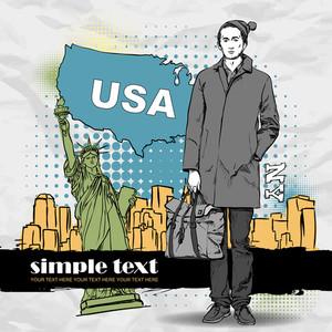 Vector Illustration Of A Stylish Guy With Bag On A Usa-background.