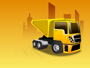 Vector Illustration Of A Transportation Classic Truck Or Loader Jeep With Loaded Containers
