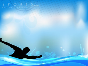 Vector Illustration Of A Triathlon Athlete Swimming Freestyle Side. Eps10 Easy To Edit