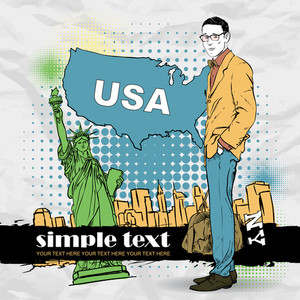 Vector Illustration Of A Young Man With Bag In Sketch-style On A Usa-background.
