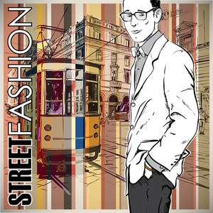 Vector Illustration Of A Young Stylish Guy And Old Tram.