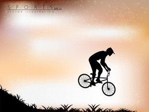 Vector Illustration Of Bmx Cyclist On Grunge Background. Easy To Edit
