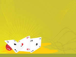 Vector Illustration Of Cards And Dice On Green Background