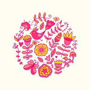 Vector Illustration Of Circle Made Of Flowers And Birds. Round Shape Made Of Butterflies