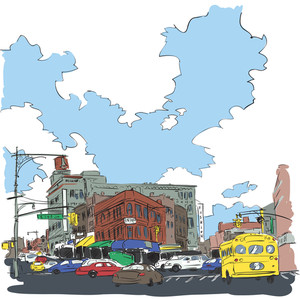 Vector Illustration Of City In Sketch Style.