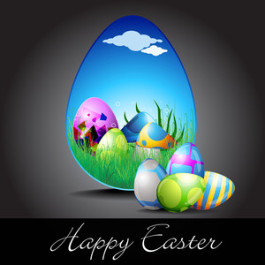 Vector Illustration Of Colorful Easter Eggs For Happy Easter.