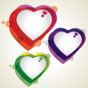Vector Illustration Of Colorful Heart Shapes On White Background.
