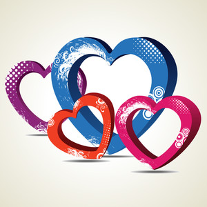 Vector Illustration Of Decorative Heart Shapes On Seamless Dotted Background.
