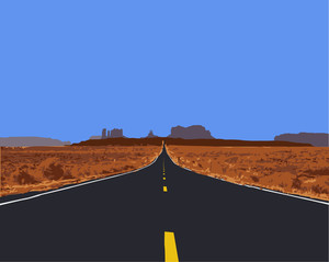Vector Illustration Of Desert Road.