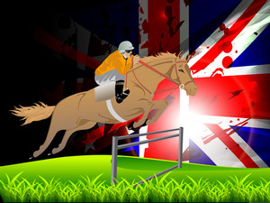 Vector Illustration Of Equestrian Sport Horse And Rider On A Green Grass Field. Eps10.