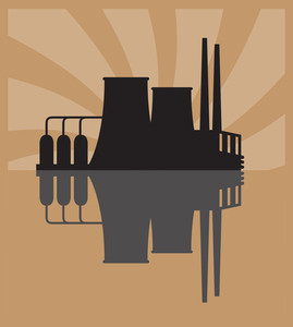 Vector Illustration Of Factory.