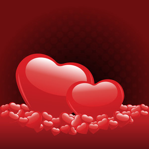 Vector Illustration Of  Heart Shapes On Red Color Background For Valentines Day.