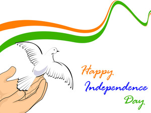 Vector Illustration Of Indian National Flag With Flying Pigeons On White Isolatated Background.