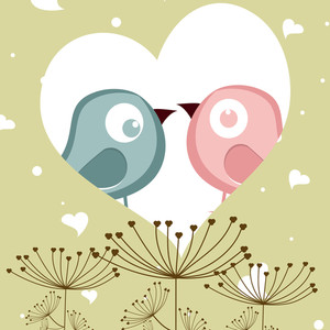 Vector Illustration Of Love Birds In Heart Shape For Valentines Day.