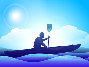 Vector Illustration Of Man Doind Kayaking