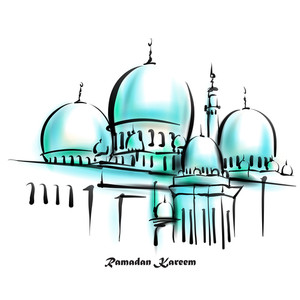 Vector Illustration Of Mosque. Translation: Ramadan Kareen - May Generosity Bless You During The Holy Month